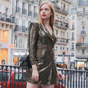 Zara Gold Metallic Sequin Blazer Dress